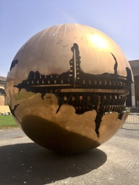 """Sphere within a Sphere"" sculpture at the Vatican Museums"